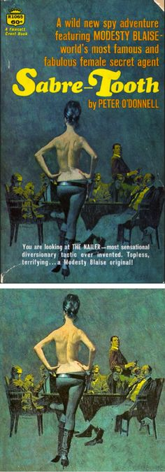 ROBERT McGINNIS - Saber Tooth (Modesty Blaise) by Peter O'Donnell - 1966 Fawcett Crest Book - cover by astrofella.wordpress.com - print by Dickes Meer