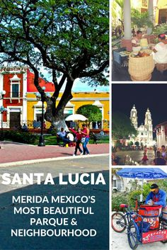 Santa Lucia Parque is a very exclusive neighbourhood and shopping area in Merida. There are houses to rent in the area and some lovely old colonial hotels via @https://www.pinterest.com/xyuandbeyond/