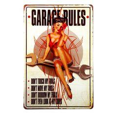 Rockabilly Recording Studios Gitarren Vinyl Pin Up Retro Sign Blechschild Schild