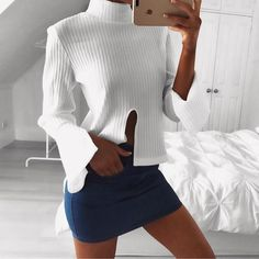 High Neck Flare Sleeve Cropped Knit Top