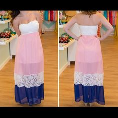 """❗️LAST CHANCE❗️Boutique maxi dress This dress is beautiful. Lace detail adds such great character! Never worn. Has slip attached underneath. I'm 5'7"""" and it hits right above the floor in flats. Dresses Maxi"""
