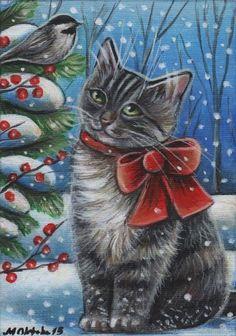 Gray Tabby Kitten & Chickadee Winter Painting