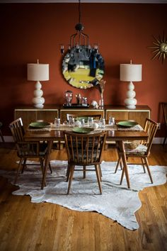 mid century orange dining room - beth kirby photography