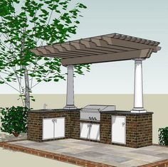covered pergola over kitchen area with storage built into the stone