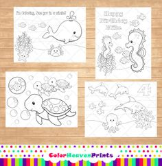 Animal Coloring Pages  Homeschooling  Sea by ColorHeavenPrints, $7.00