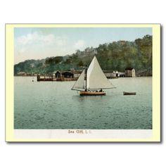 Nice Sailing, Sea Cliff, Long Island, NY 1907 Vintage Post Cards