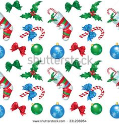 Vector illustration. Seamless pattern. Attributes of Christmas for your design: christmas decorations, christmas sock, holly, bow-knot, candy cane.