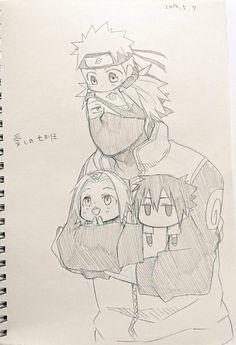 Kakashi-Sensei taking care of Naruto, Sakura & Sasuke