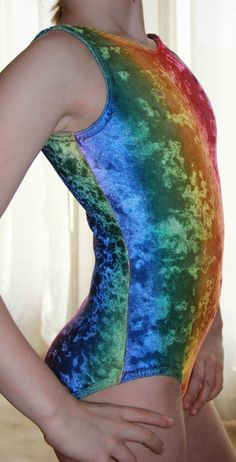 Girls Sz Med Look It Activewear Rainbow Velour Leotard Gymnastics Dance EUC | eBay | I bet it's fuzzy, too.