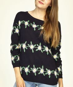 Look what I found on #zulily! Navy Daisy Sweater by Sugarhill Boutique #zulilyfinds