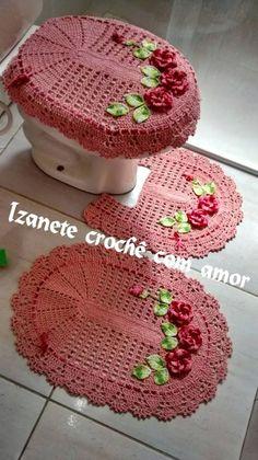 Crochê com amor: PAP -  Jogo de banheiro com flores aplicadas                                                                                                                                                                                 Mais
