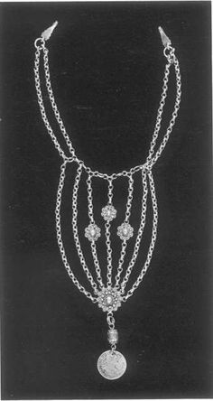 Silver Chin-Chain (iznaq, Bethlehem in the Mandate Period: Most villagers wore iznaqs with single or doubled chains; the seven chains and elaborate ornaments of the Bethlehem period iznaq proclaimed their superior wealth. It was suspended from the sides of the tall headdress (shatweh).