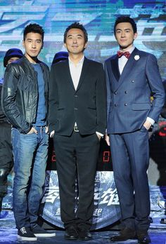 Taiwanese actor Mark Chao, director Tsai Yueh-Hsun and Chinese actor Lin Gengxin pose during a press conference for their movie 'Black & White: The Dawn of Justice' in Beijing, China, 26 May 2014