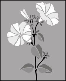 Garden Room Petunia  stencils, stensils and stencles