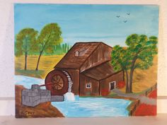 Originial Acrylic Painting Grist Mill by by StillwatersPaintings, $85.00