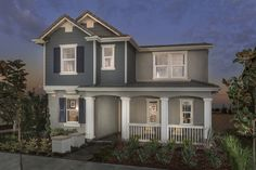 Cute! Love the blue and gray..nice porch! Hadleigh at Park Place, a KB Home Community in Ontario, CA (Riverside / San Bernardino)