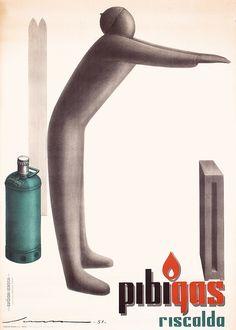 ORIGINAL 1951 Italian Deco Design Poster Pibigas S - by PosterConnection Inc.
