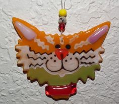 Fused Glass Cat Ornament