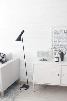 """urbnite: """"AJ Floor Lamp by Arne Jacobsen """" Beautiful Interior Design, Beautiful Interiors, Home Office, Monochrome Interior, Built In Seating, Living Room Lighting, Living Room Interior, Interiores Design, Home And Living"""