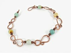 Multicolour Amazonite Copper Wire Bracelet  by TranquilityJewels
