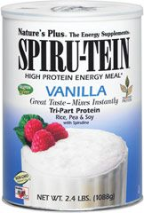 Spiru-Tein Vanilla <p><strong>From the Manufacturer's Label: </strong></p><p>Rich in flavor and nutrition--that's Spiru-tein! One of life's true pleasures is enjoying a delicious treat you know is good for you in every way. Nature's Plus is especially proud of its entire line of Spiru-tein products. Low in calories, with zero fat, Spiru-tein delivers a healthy infusion of plant-based protein, along with other essential nutrients.</p><p>Ma