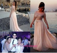 Gorgeous Crystal Beaded Prom Dresses Sheer Scoop Neck Long Sleeves A-Line Chiffon Evening Gowns Pageant Dress
