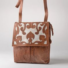 Cross Body, Dual Color Bag with Scroll on Flap by Leaders in Leather
