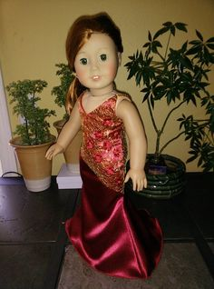 "Beautiful evening dress red with gold for American Girl Dolls and 18"" Dolls."