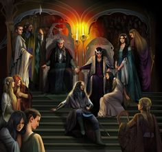 The Royal Court of Thingol in Doriath.  http://my.deviantart.com/art/The-royal-court-of-Thingol-362020618