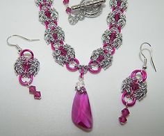 Hand-made Aluminium Chain Maille with Swarovski Angel Wing & Earrings Set in Jewellery & Watches, Handcrafted Jewellery, Sets | eBay
