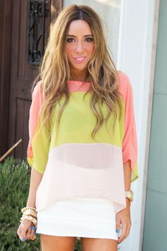 Color Block Chiffon Blouse