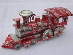 Coca Cola Train Recycled Art