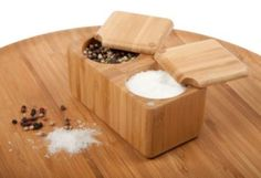 This Double Square Bamboo Salt Box is simple and easy to use. With an easy slide-off lid that rotates a full 360 degrees, it has enough space to store salt and pepper, or any combination of your favorite spices. Having this salt box handy will mak. Home Gadgets, Cooking Gadgets, Gadgets And Gizmos, Kitchen Gadgets, Kitchen Tools, Kitchen Box, Vegan Kitchen, Kitchen Witch, Kitchen Products
