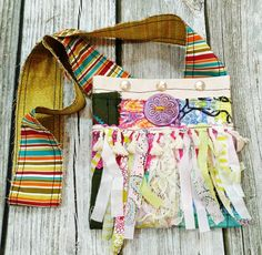 Materials: fabric, canvas, thread, lace and/or ribbon, metal snaps, velcro, paper clay #textiles #handmade @kimberlymcgu... Gypsy Bag, Boho Gypsy, Hippie Life, Hippie Style, Bohemian Style, Fabric Design, Pattern Design, Small Journal, Paper Clay