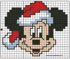 Mickey Mouse i hama perler. Mickey Mouse i hama perler. Mickey Mouse Christmas, Mickey Y Minnie, Pearler Bead Patterns, Perler Patterns, Cross Stitch Designs, Cross Stitch Patterns, Hama Disney, Christmas Perler Beads, Hama Beads Design