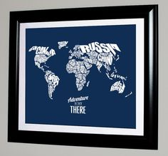 Adventure Is Out There - World Word Map with Travel Quote - 8x10 on Etsy, $15.00