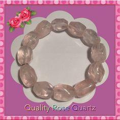 "ROSE QUARTZ Stretch Bracelet LARGE (8"") NEW NEW GENUINE ROSE QUARTZ STRETCH  BRACELET (8"" Round).    Beautiful Rose Quartz • Each Rose Quartz on the Bracelet Measures Approximately 1/2"". • Bracelet is a little heavier than normal.  Bracelet Weighs 2.1 ozs. QVC Jewelry Bracelets"