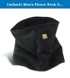 Carhartt Men's Fleece Neck Gaiter,Black,One Size. When the winds blow and the cold wants to crawl down your neck, reach for the Carhartt fleece neck gaiter. Made of 92 percent polyester, 8 percent spandex fleece for warmth with the Carhartt label sewn on back seam.
