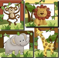 Set of 4 Jungle Safari Animals - Elephant, Lion, Monkey and Giraffe Babies Bedroom Nursery ART PRINTS
