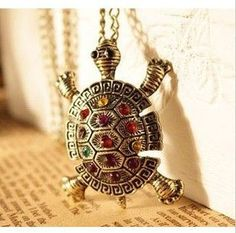 Fashion Turtle Pendant Necklace Vintage Cute Sweater Chain Necklace – Blue Lion Jewels