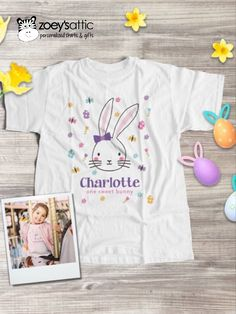 Happy Easter 2019 Bunny Green Egg Personalized your name Kids T Shirts