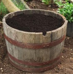Preparing a Wine Barrel Planter to plant veggies in or flowers Wine Barrel Garden, Wine Barrel Planter, Outdoor Plants, Outdoor Gardens, Outdoor Decor, Outdoor Ideas, Outdoor Living, Garden Planters, Fence Plants