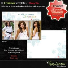 TaraLicious Photoshop Templates for Professional Photographers - PSD Layered - Christmas Templates -  Flakey Trio