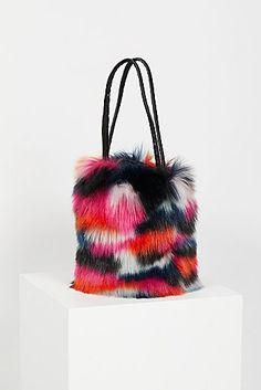 0905b20bdadc Talulah Faux Fur Bucket Fringe Purse
