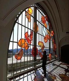 DALE CHIHULY  MONARCH WINDOW  22 X 40 X 3'  UNION STATION, TACOMA, WA