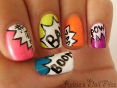Comic Book Nails...  Bright, fun and perfect for geeky gals this summer. These comic book nails are a hit for all geeks out there, whether you like to read comics or just enjoy the superhero franchise. For a on trend twist, make the bright colours pastel, and channel your inner Summer sweetheart.