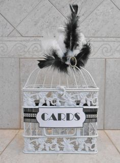 Small Wedding Birdcage Card Holder / Wedding Card Box by ThoseDays