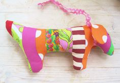 Toy soft baby patchwork dog dachshund wiener in pink by poppyshome, €14.00