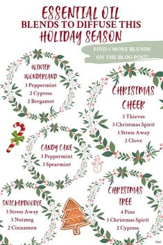 Essential oil blends for Christmas holiday season diffuser blends Young Living essential oils Young Living Christmas essential oil diffuser blends Christmas tree smell Snickerdoodle scent Winter Wonderland