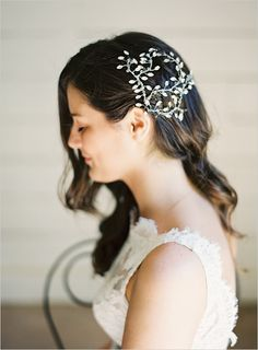 wedding hairstyle with family heirloom hair piece